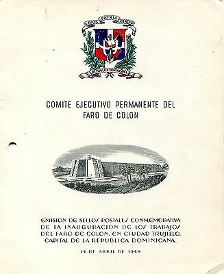 1953 - Dominican Republic - Columbus Lighthouse Special Folder Mini-Sheet, Umm