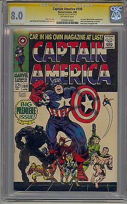 Captain America #100 Cgc 8.0 Ss Signed Stan Lee Marvel Avengers