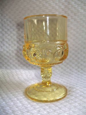 1 Indiana Yellow Kings Crown Thumbprint 4oz Footed Wine Glass Goblet