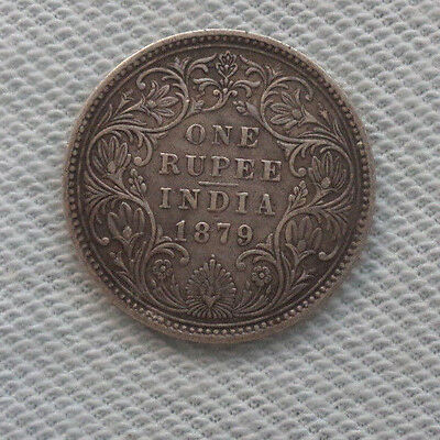 1879  British  India  One Rupee  Silver  Coin