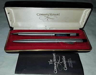 Vintage Boxed Set Conway Stewart Stainless Steel Maxi Ballpen & Pencil Set
