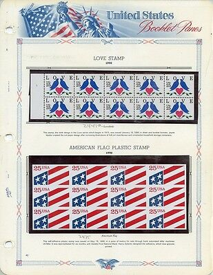 USA BOOKLET PANES 1990 MNH ** 2441a + 2475 Love Stamp & Flag Plastic Stamp