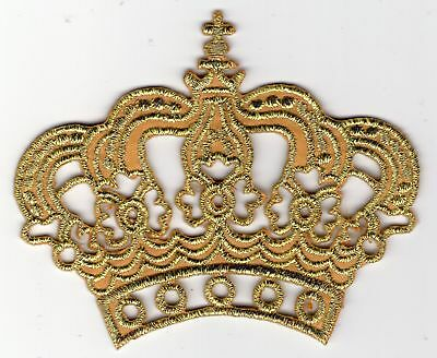 Ecusson Patche Thermocollant Couronne Crown Reine Roi Princesse Or Gold 8 X 6 Cm