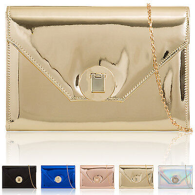Mirror Metallic Hologram Ladies Evening Prom Party Bags Patent Women Boxy Clutch