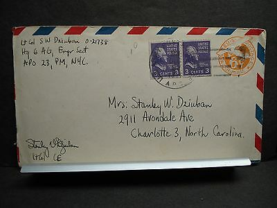 APO 23 VITTEL, FRANCE 1944 Censored WWII Army Cover ENGR Sect Soldier's Mail