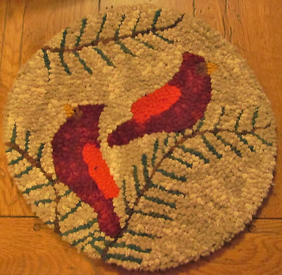 CARDINALS ON THE ROUND Primitive Rug Hooking Kit with cut wool strips
