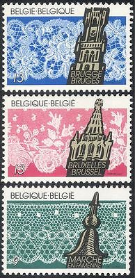 Belgium 1989 Lace-making/Crafts/Textiles/Towers/Buildings/Industry 3v set n43255