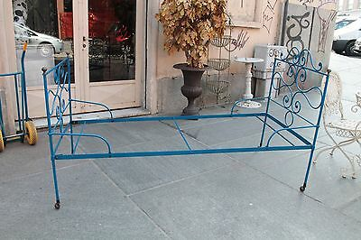Bed Single Bed Iron Lacquered Blue / Beds Iron / Beds Lacquered '900