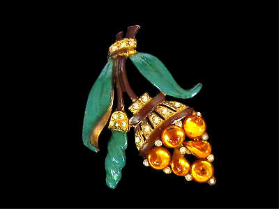 Art Deco 1920's-1930's Fred Grey Corp Enameled Jelly Rhinestone Wisteria Brooch