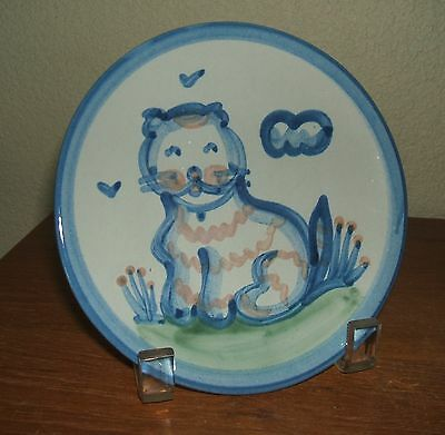 """Ma Hadley Pottery Country Scene Blue 6"""" Cat Bread & Butter Plate"""