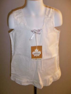 GIRL'S VTG 1950s WHITE SANFORIZED COTTON NIGHT GOWN OR SLIP WITH LACE SIZE 4 NWT