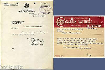 BC Liquor Control Board Alcohol Documents 1952 Advertising Letters CN Telegraph