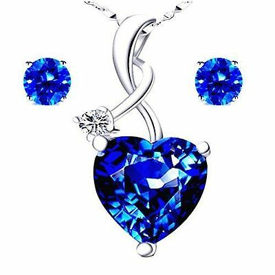 4.03 Ct 925 Sterling Silver Blue Sapphire Gemstone Pendant Necklace Earring Set