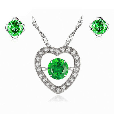 Lab Emerald Sterling Silver Heart Shape Dancing Necklace Pendant & Earring Set