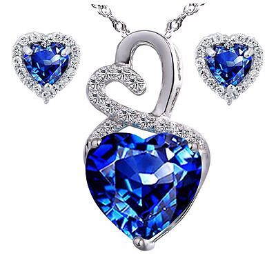 Sterling Silver Created Blue Sapphire Heart Necklace Earring Set Gifts for Women