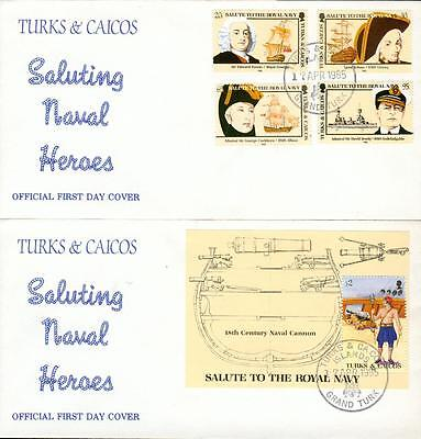 Turks and Caicos s´sheet + set on 2 FDC Royal Navy fa18