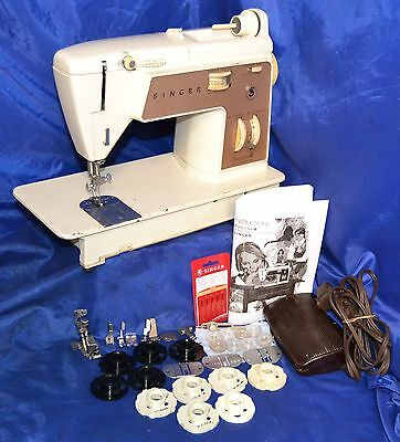 Singer  758 Touch & Sew Sewing Machine Zigzag Serviced Attachment Good Condition