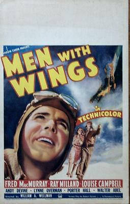 FRED MacMURRAY MEN WITH WINGS ORIGINAL VINTAGE AVIATION WWI AVIATION WINDOW CARD