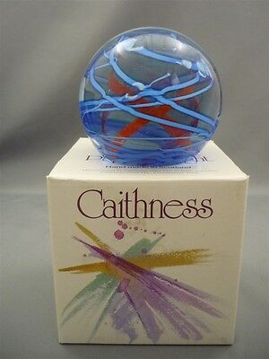 Caithness Scotland Pink Blue Swirl Glass SIGNED Vibrance Paperweight w/Box