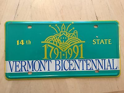Vermont 14Th State 1791 1991  Bicentennial Official Front Booster License Plate