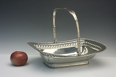 English Georgian Period Old Rolled Silver on Copper Sheffield Basket, Circa 1800