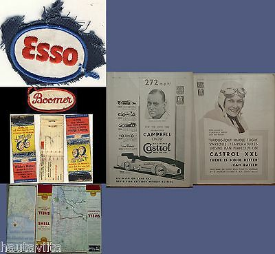 Imperial Esso Castrol Ads Road Maps Matchbook Patch 1933-1960s Canada Alberta