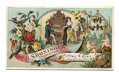 Victorian Trade Card B SHONINGER ORGAN & PIANO Fellows & Sons Schuylerville NY