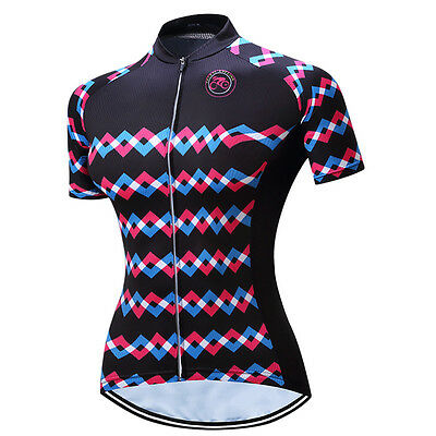 New Women Noir Vélo Maillot Cycling Bike Short Sleeve Cyclisme Jersey Top XS-4XL