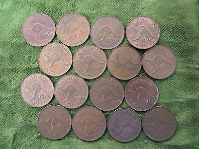 Half Square Metre Of 1964 Australian  Kangaroo  Penny Coins For Craft Work, Etc