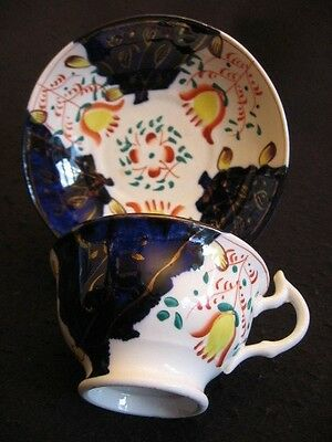 VICTORIAN GAUDY WELSH HAND-PAINTED CHINA CUP/SAUCER DUO Tulip Pattern 1880's EX