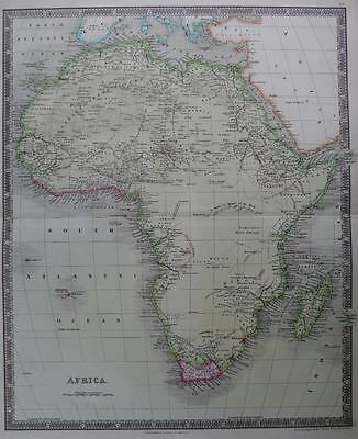 AFRICA  BY DOWER & TEESDALE  GENUINE  ENGRAVED MAP ORIGINAL HAND COLOUR   c1844