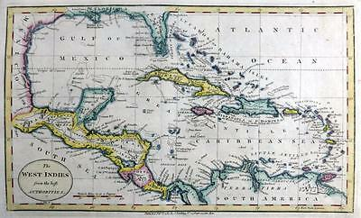 WEST INDIES  CARIBBEAN  BARBADOS JAMAICA BY JOHN CARY GENUINE ANTIQUE MAP  c1784