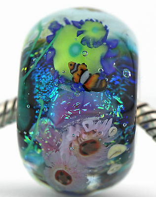 CORAL REEF FOCAL sterling silver european charm murano glass bead lampwork MWR