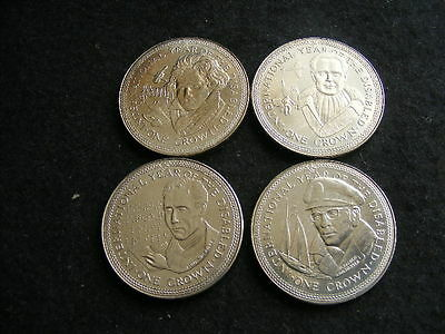 Isle of Man 1981 Set of 4 Crowns Year of Disabled AUNC