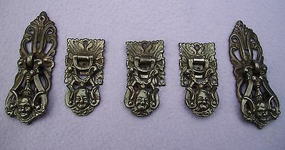 Vintage Set Of 5 Cupboard / Drawer  Pulls With  Backplates  -  Chubby Face