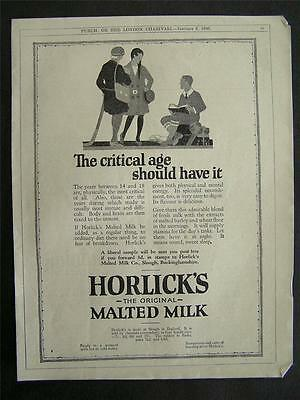 1920s advert for HORLICK'S malted milk critical age 14-18 years for health 1926