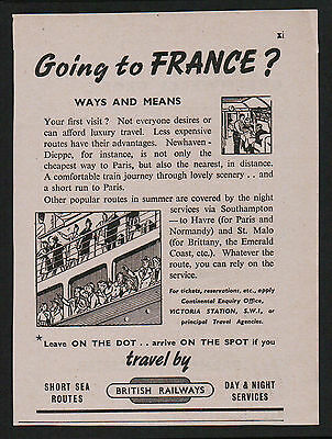 1940s advert for BRITISH RAILWAYS going to France? short sea routes travel 1949