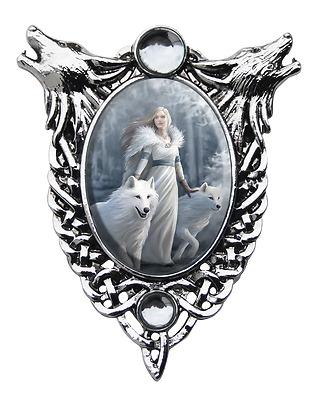 Anne Stokes Winter Guardians Cameo Pendant Wolves