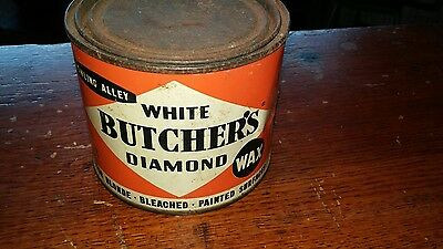 Vintage Butcher's Boston Polish Floor Wax Metal Can Bowling Alley Nice Colors