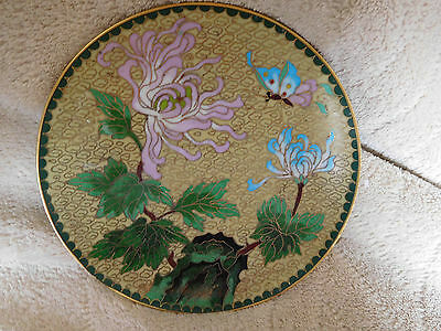 """Lovely Vtg.Chinese Brass Cloisonne Plate Turquoise w/ Lotus Flower Butterfly ~6"""""""