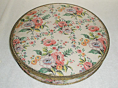 """Vintage Candy Box Round Fabric Covered Floral 14"""" Gorgeous"""