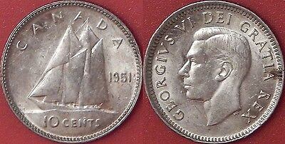 Extra Fine 1951 Canada Silver 10 Cents