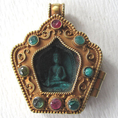 Inlaid Jewelled Turquoise Buddha Sterling Silver Gold Plated Pendant Nepal
