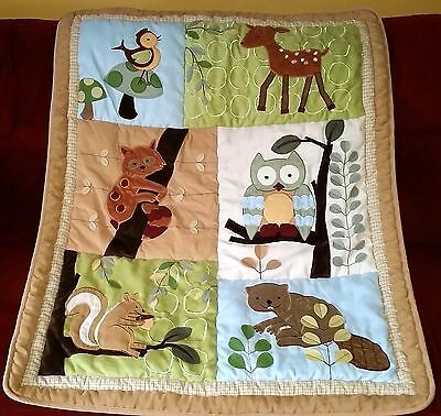Lambs & Ivy ENCHANTED FOREST Crib Comforter Quilt Owl Fox