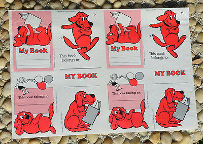 Vintage Sheet 1988 Scholastic CLIFFORD BIG RED DOG My Book Belongs To LABEL