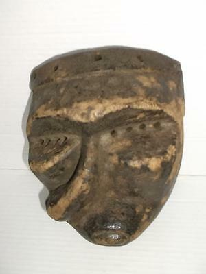 551 / Hand Carved Wooden 19Th Century African Tribal Mask With Applied Pigment