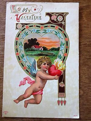 Early 1900s To My Valentine Day Cupid Flaming Hearts Embossed Postcard Posted