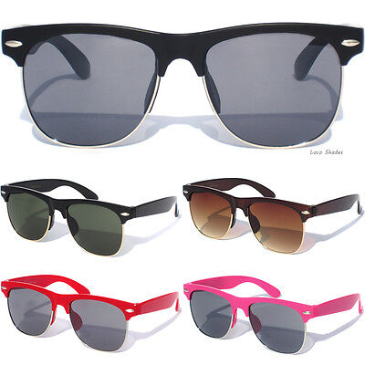 SMALL KIDS SIZE HALF FRAME Classic Retro Vintage Style Sunglasses For Boys Girls