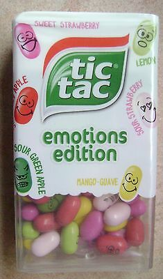 NEW TIC TAC EMOTIONS EDITION PRINTED SWEETS 49g MANGO GUAVE LEMON STRAWBERRY