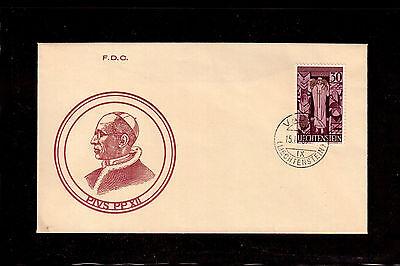 Liechtenstein 1959 First Day Cover # 335 In Memory Of Pope Pius Xii !!